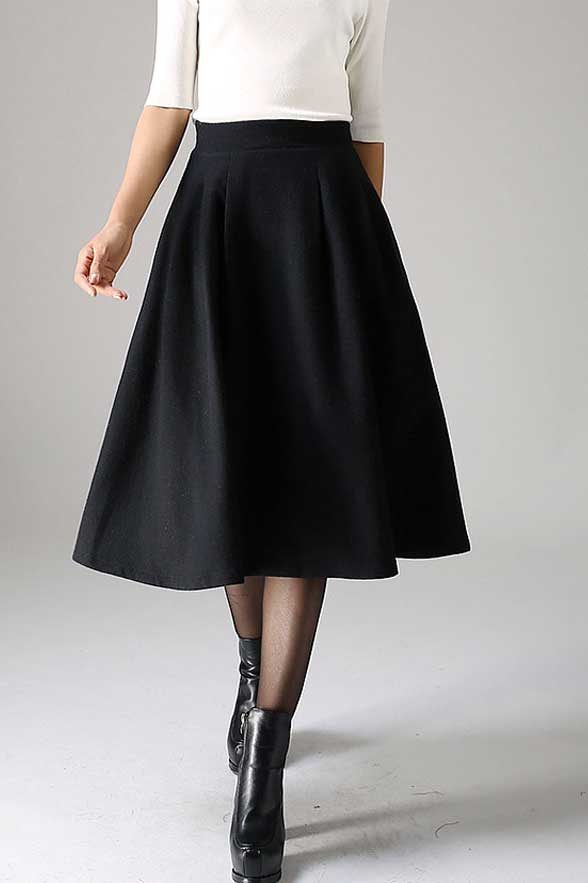 pleated A line wool Skirt in Black 1087#