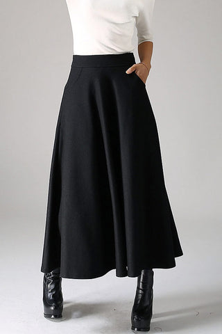Black wool skirt maxi skirt women skirt 1088#