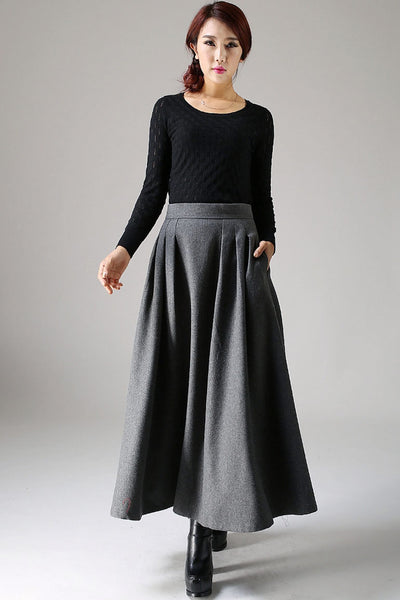 Xiaolizi long Gray Winter Wool Skirt  1091#