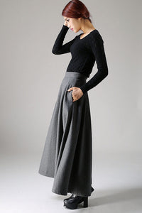 A Line long Maxi Wool Skirt 1091#
