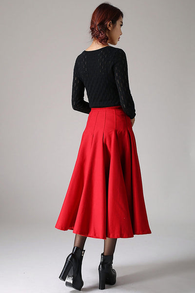 Red swing Maxi skirt,  warm winter skrit for women1092#