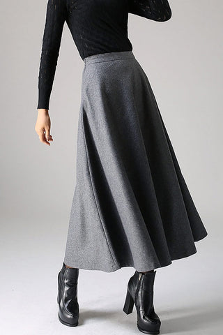 Classical A line Skirt for winter, Timeless wool flare skirt 1093#
