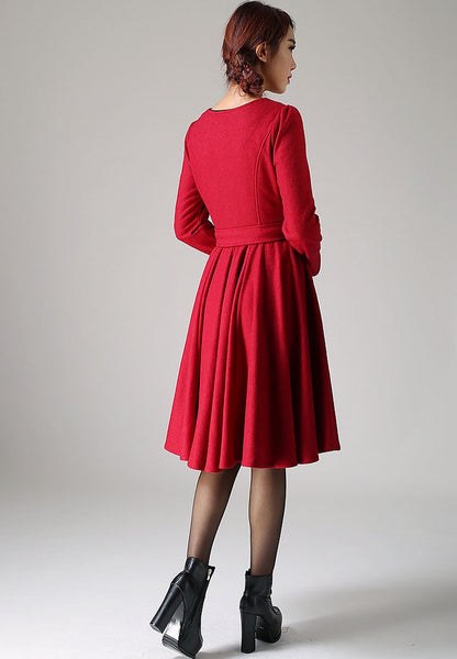 Red midi wool dress women dress (1082)