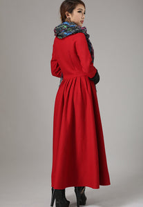 Red dress wool dress maxi winter dress (737)