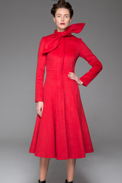 Red Women's Coat - Long Elegant Sleek Simple Fitted Smart Tailored Winter Designer Coat with Scarf Collar & Concealed Closure (1408)
