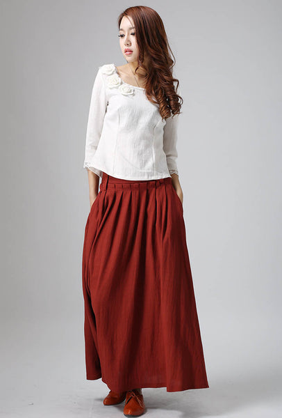 women's red long maxi linen skirt 0816#