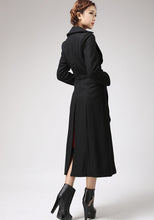 Load image into Gallery viewer, Black Long Wool Coat Winter Jacket 0704#