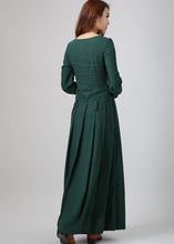 Load image into Gallery viewer, Green linen dress woman maxi dress custom made long sleeve linen dress (788)