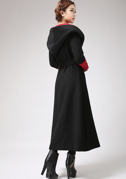 Black & Red wool Coat - Long Maxi Warm Winter Coat Double Breasted with Large Hood (700)