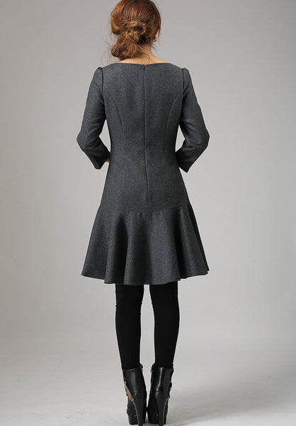 Gray dress wool dress mini women dress (746)