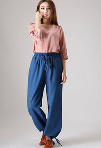 Loose cuffed Linen pants for  womens 853