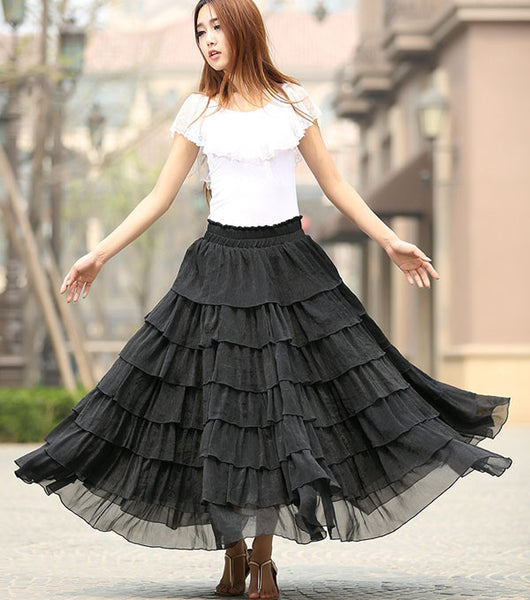 Black skirt woman chiffon skirt maxi skirt long layered skirt custom made summer skirt (939)