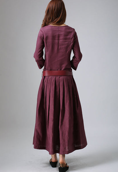Pleated Linen Maxi Dress - Plum Long Dress Shaped Bodice & Pleated Skirt Three Quarter Length Sleeves (802)