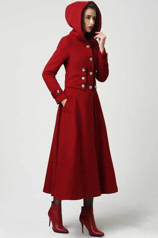 Womens Long Red Wool Coat with Hood 1107#