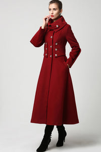 Military wool Coat for women, Elegant maxi long coat 1118#