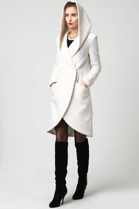 Women's Wool Midi Coat with Hood in Winter White 1119#