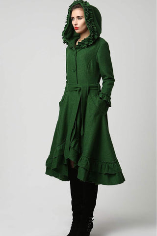 Womens Dark Green Wool Maxi Coat with Hood 1120#