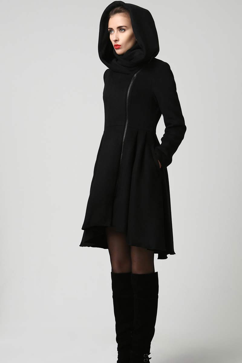 womnes hooded wool coat for winter 1121#