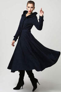 Womens Long Wool Coat with Hood and Ruffle 1102#