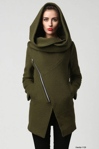 Womens Short Green Wool Coat with Oversized Hood  1128#