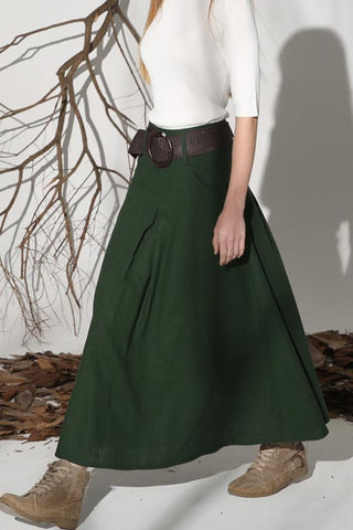 Green skirt linen skirt maxi skirt long skirt women skirt 1152#