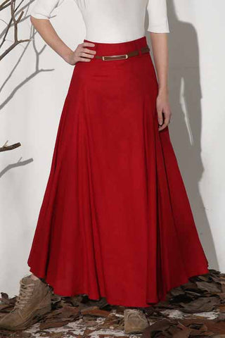 Women's A line maxi skirt in Red 1154#