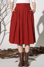 Load image into Gallery viewer, Midi skirt linen skirt women skirt 1155#