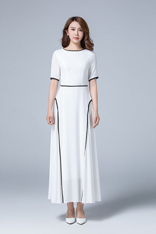 ankle length elegant dress with crew and high waist 1779