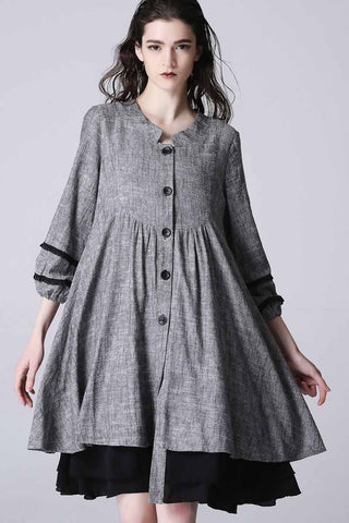 Women's grey tunic dress , shirt dress 1190#