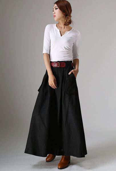 Black linen skirt with Big Pocket Detail - womens long skirt - Classic Women Fashion 979#