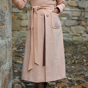 Single breasted wool maxi coat with self tie belt waist 2421#
