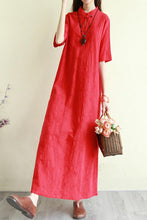 Load image into Gallery viewer, summer loose linen long dress with half sleeve and mockneck CYM333