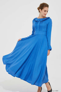 Linen wedding guest dress, swing maxi dress 2092#