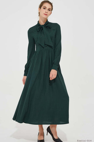 summer women long dress with long sleeves and high waist 2114