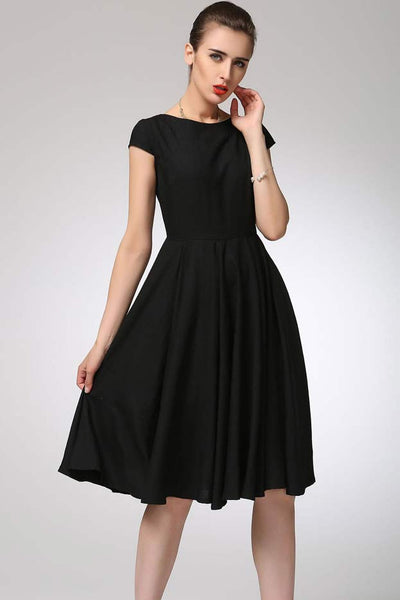 little black dress - fit and flared linen dress made of soft linen 1263#