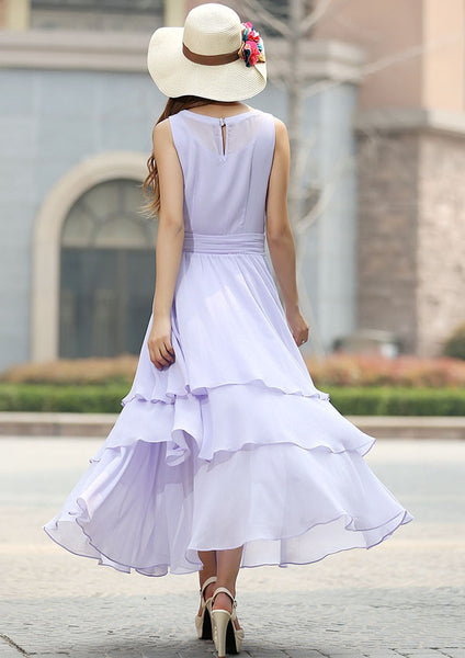 Purple dress woman chiffon maxi dress prom dress wedding dress (929)