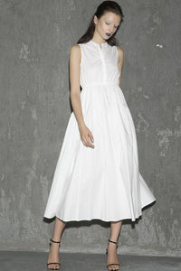 white cotton sleeveless long womens dress with summer 1302