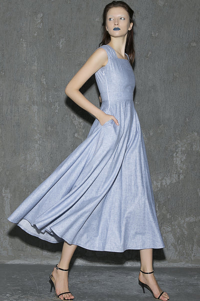 Blue linen women's sleeveless long dress with side zipper for summer 1316