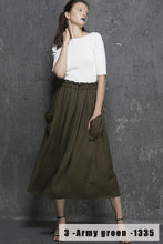 Load image into Gallery viewer, Army green skirt linen skirt maxi skirt long skirt women skirt 1335#