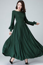 Load image into Gallery viewer, Women Vintage inspired Medieval Linen maxi dress 145401