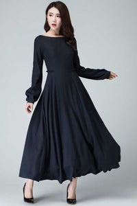 Xiaolizi handmade long sleeve swing maxi dress in Blue 1465#