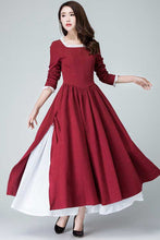 Load image into Gallery viewer, Burgundy victorian prairie dress 1473#