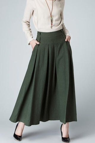 olive green pleat maxi skirt 1481#