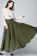 Load image into Gallery viewer, flare maxi circle skirt in Green 1482#