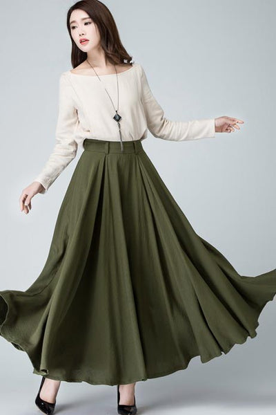 flare maxi circle skirt in Green 1482#
