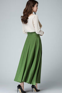 Long Button front skirt for women 1484#
