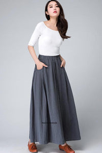 Grey long linen skirt, pockets skirt, summer skirt 1498#