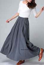 Load image into Gallery viewer, Grey long linen skirt, pockets skirt, summer skirt 1498#