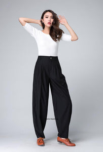 Women's Pleated linen tapered pants 1499