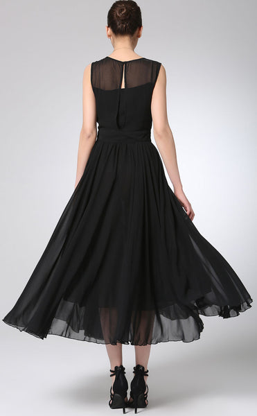 Black prom dress maxi chiffon dress long women dress 1238#